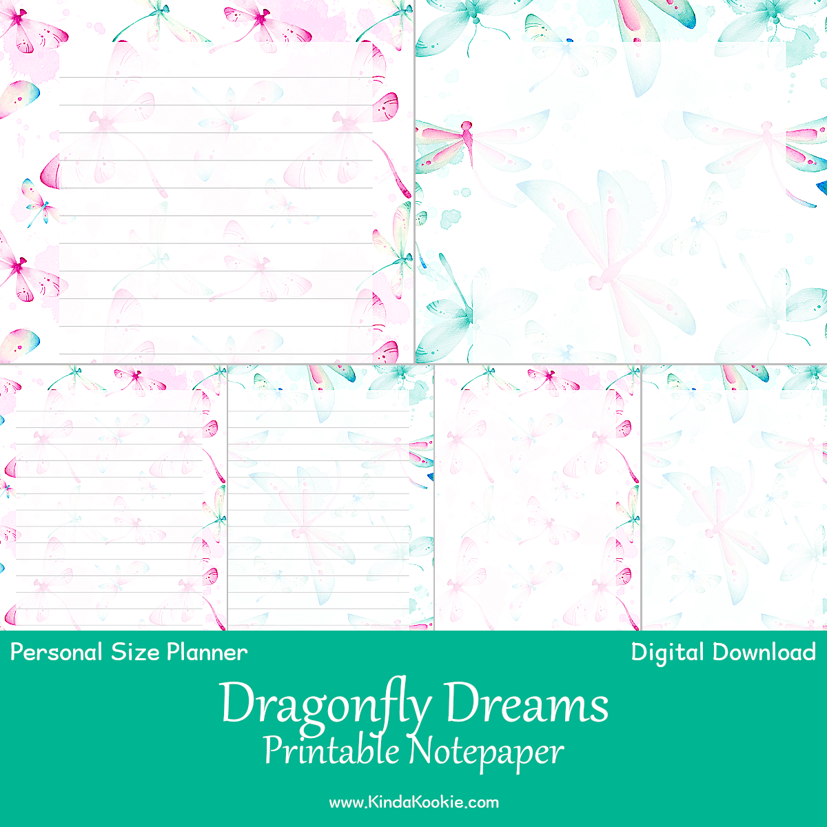 graphic about Printable Note Paper named Dragonfly Desires Notepaper Person Rings Planner Printable Inserts