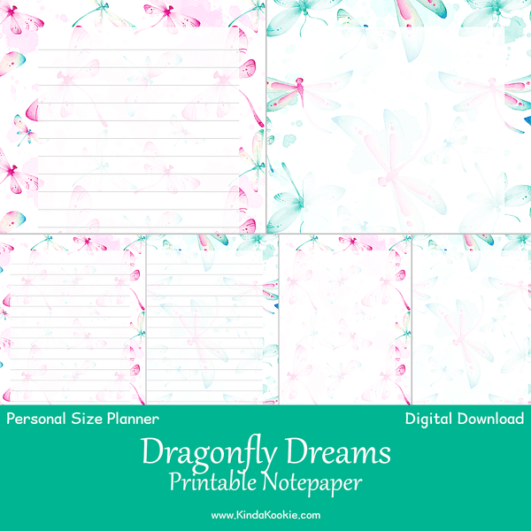 Dragonfly Dreams Notepaper Personal Planner Printable Inserts