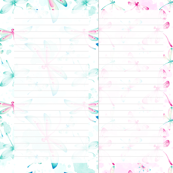 photo about Printable Note Papers known as Dragonfly Wishes Notepaper Specific Rings Planner Printable Inserts