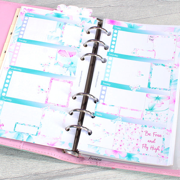 Dragonfly Dreams Horizontal Personal Planner Weekly Layout Sticker Kit by KindaKookie