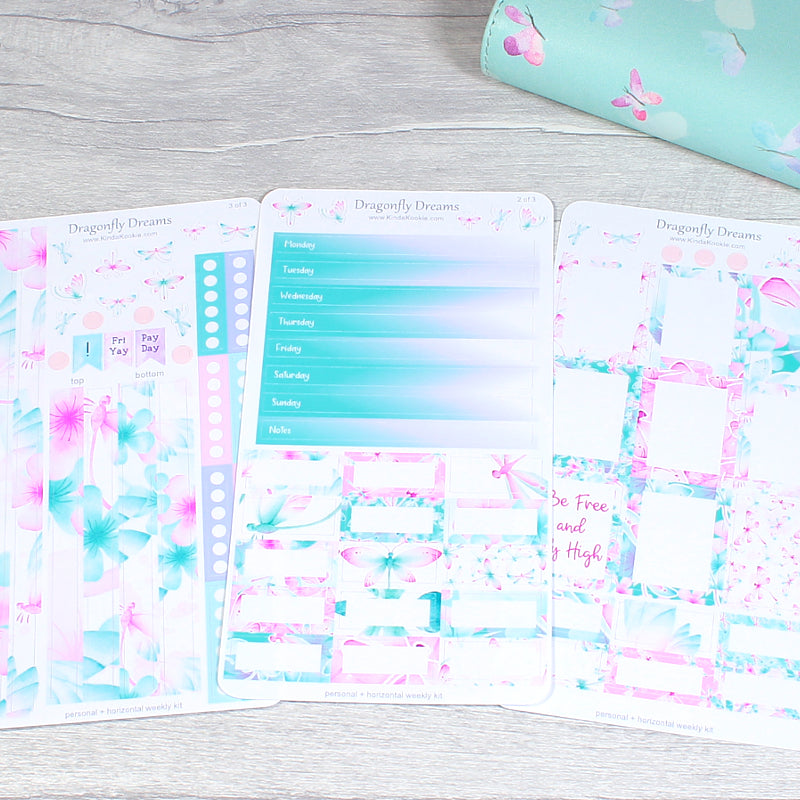 Dragonfly Dreams Horizontal Planner Layout Sticker Kit by KindaKookie