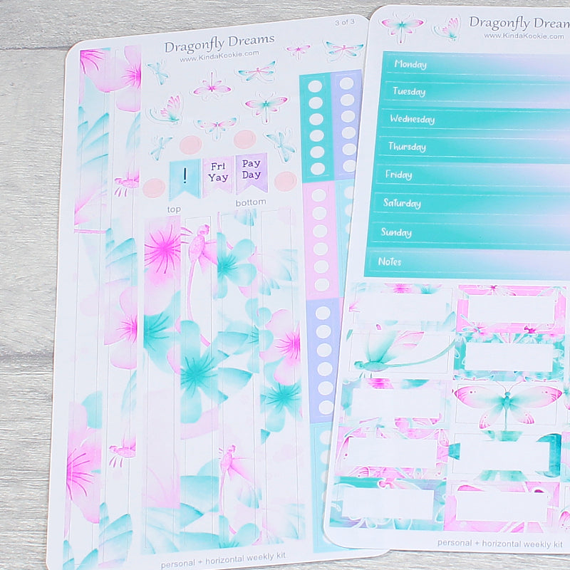 Personal Horizontal Planner Sticker Kit Dragonfly Dreams by KindaKookie