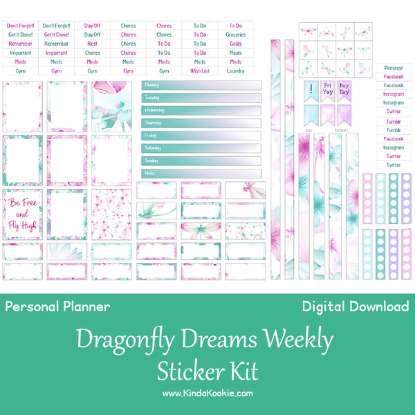 Dragonfly Dreams Personal Horizontal Weekly Layout Printable Stickers by KindaKookie