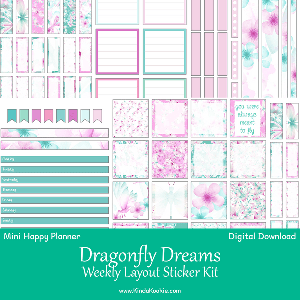 Dragonfly Dreams Mini Happy Planner Weekly Layout Printable Sticker Kit