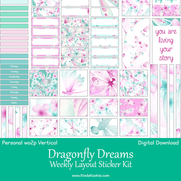 Dragonfly Dreams Personal Planner WO2P Vertical Weekly Printable Sticker Kit
