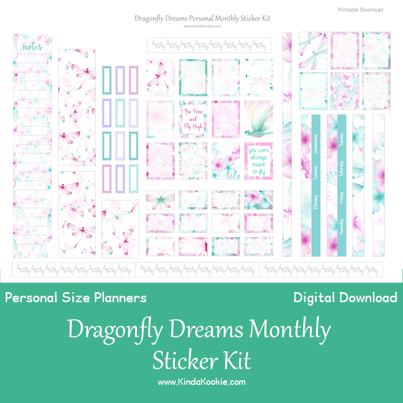 Dragonfly Dreams Printable Personal Size Monthly Sticker Kit by KindaKookie