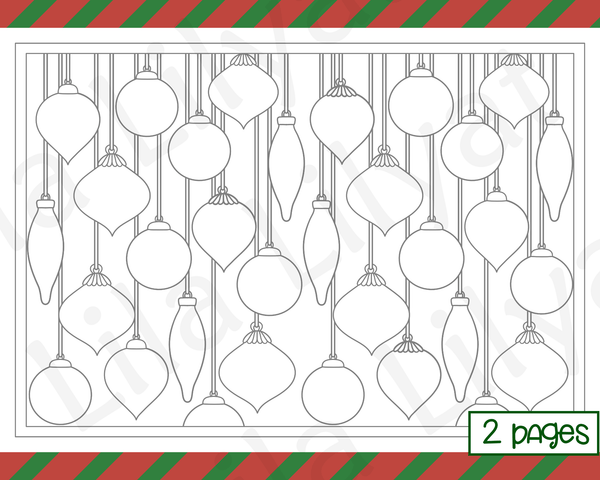 Free Christmas Coloring Pages Hanging Baubles and Christmas Tree Ornaments