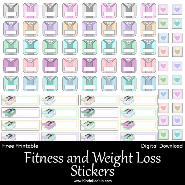 kindakookie steps weightloss fitness tracker printable stickers