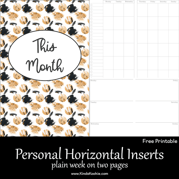Free Personal Rings Horizontal Plain Week On Two Pages Inserts
