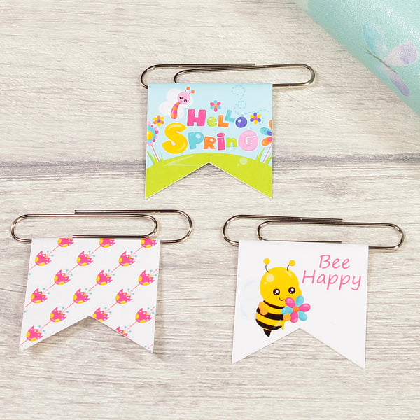 Set of 3 Hello Spring Cute Bug Paper Clips. Fun office Stationery and Planner Supplies.