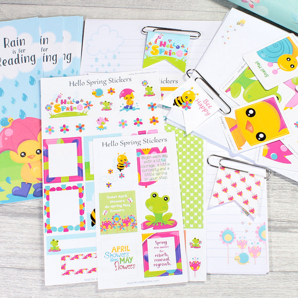 Hello Spring March Planner Stickers and Stationery Bundle by KindaKookie
