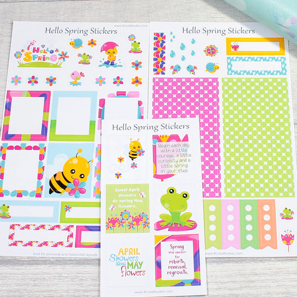 Hello Spring Stationery Planner Sticker Sheets by KindaKookie