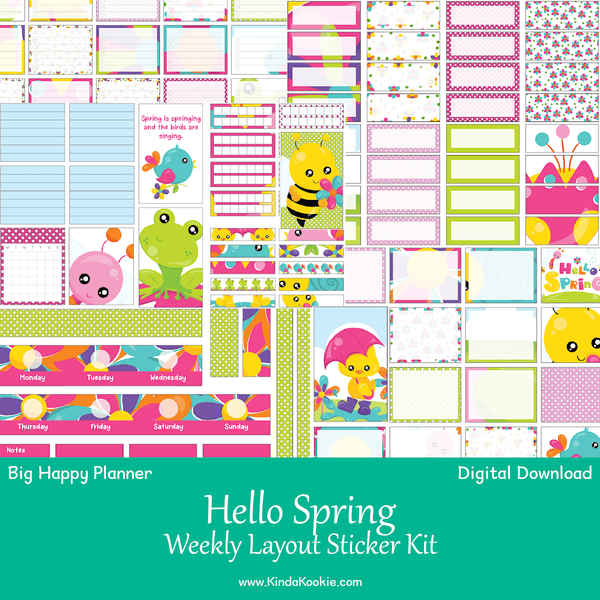 photograph regarding Planner Printable Stickers referred to as Hi there Spring Substantial Content Planner Weekly Design Printable Sticker Package