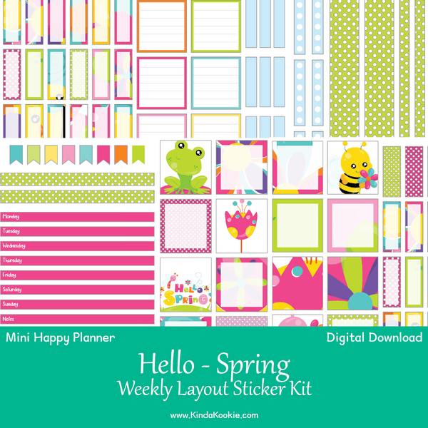 Hello Spring Mini Happy Planner Weekly Layout Printable Sticker Kit