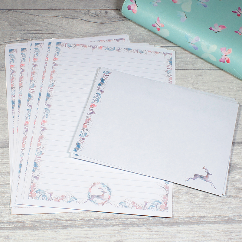 Decorative Deer Penpal Writing Paper Stationery by KindaKookie