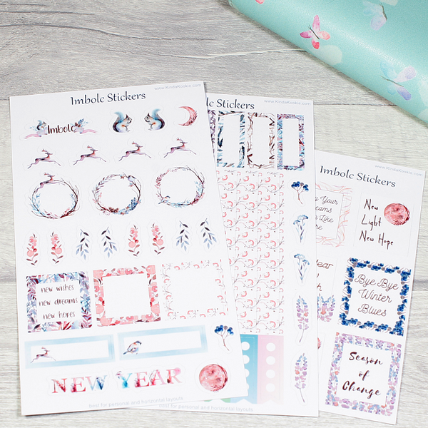Imbolc New Year Personal Horizontal Planner Layout Stickers by KindaKookie