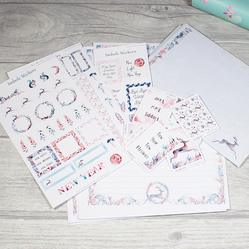 Imbolc Stationery Bundle with Stickers, Planner Stickers and Writing Paper by KindaKookie