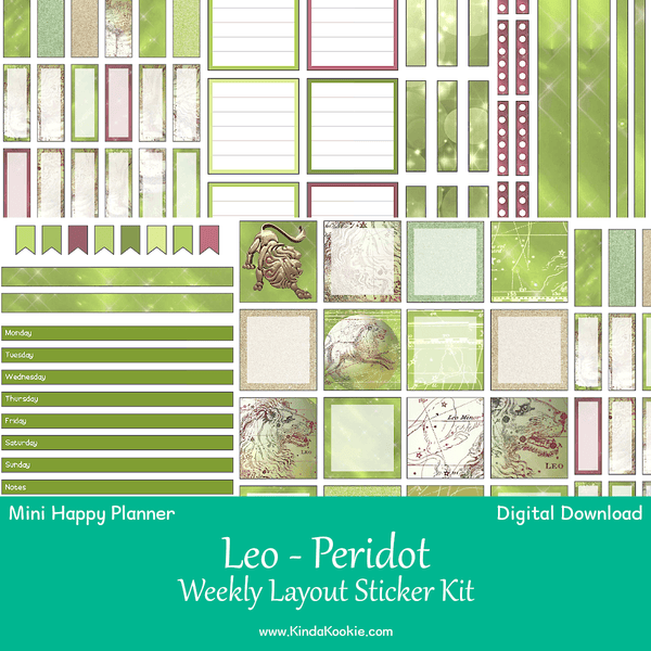 Leo Peridot Mini Happy Planner Weekly Layout Printable Sticker Kit
