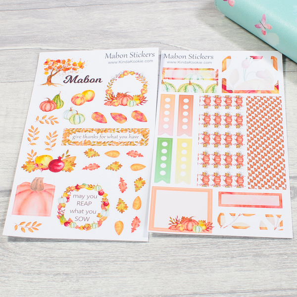 Mabon Harvest Festival Thanksgiving Pagan Holiday Notebook Planner Stickers by KindaKookie
