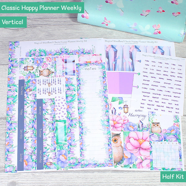Magical Woodland Classic Happy Planner weekly Layout Kit Half by KindaKookie