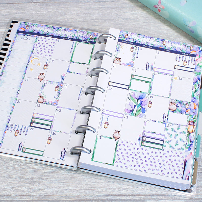 Mini Happy Planner Monthly Spread Magical Woodland Layout by KindaKookie