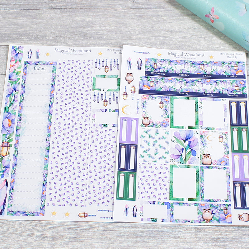 Magical Woodland Mini Happy Planner Monthly Layout Kit by KindaKookie