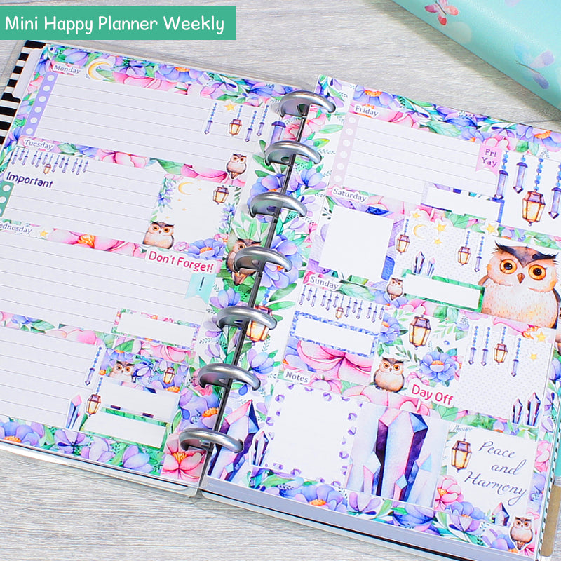Magical Woodland Mystical Amethyst Forest Mini Happy Planner Weekly Layout by KindaKookie