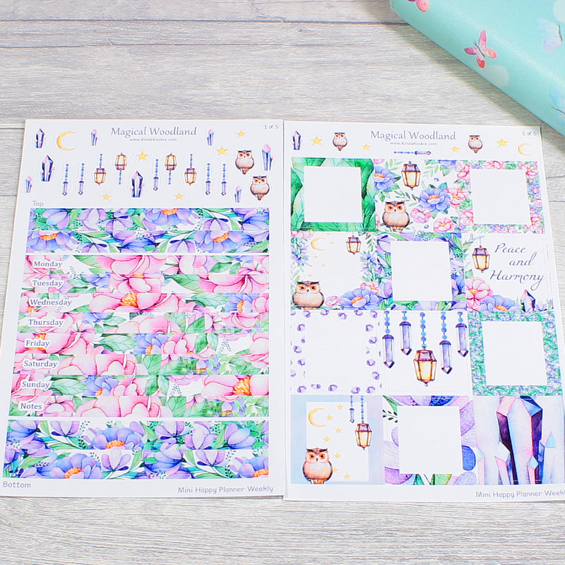 Mini Happy Planner Weekly Kit Day Strips and Full Boxes Magical Woodland by KindaKookie