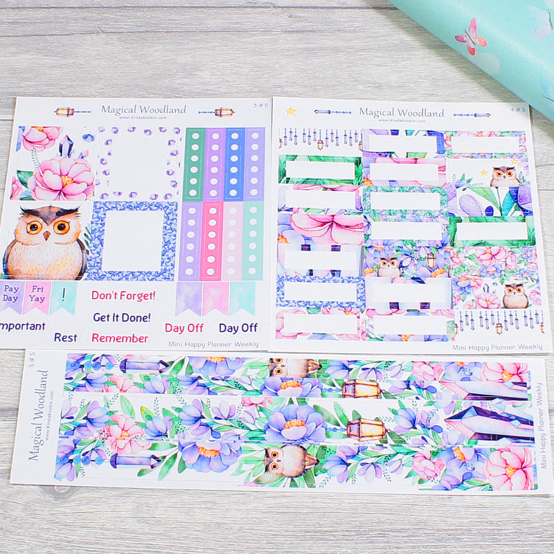 Magical Woodland Mini Happy Planner Sticker Kit Boxes and Pre-cut inside Washi Strips by KindaKookie