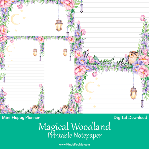 Magical Woodland Notepaper Mini Happy Planner Printable Inserts