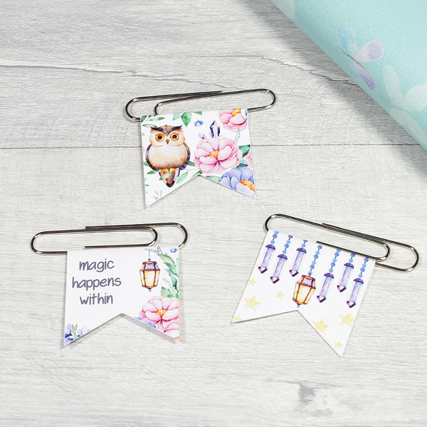 Magical Woodland Mystical Amethyst Forest Paper Clips Planner Clips by KindaKookie