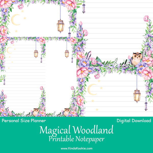 Magical Woodland Notepaper Personal Planner Printable Inserts