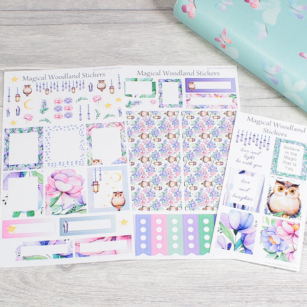 Magical Woodland Personal Horizontal Diary Planner Layout Stickers