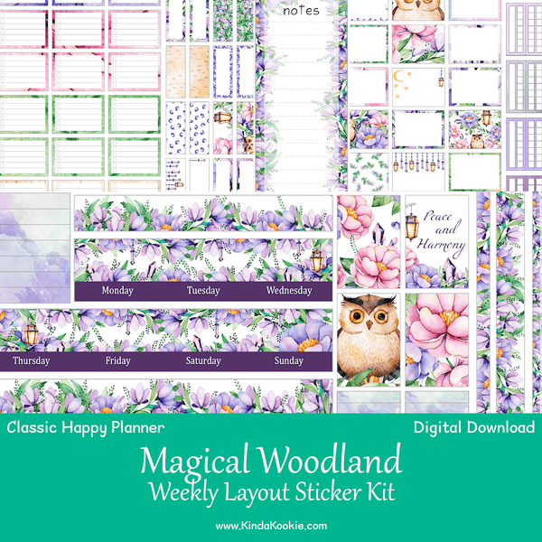 Magical Woodland Classic Happy Planner Weekly Layout Printable Sticker Kit