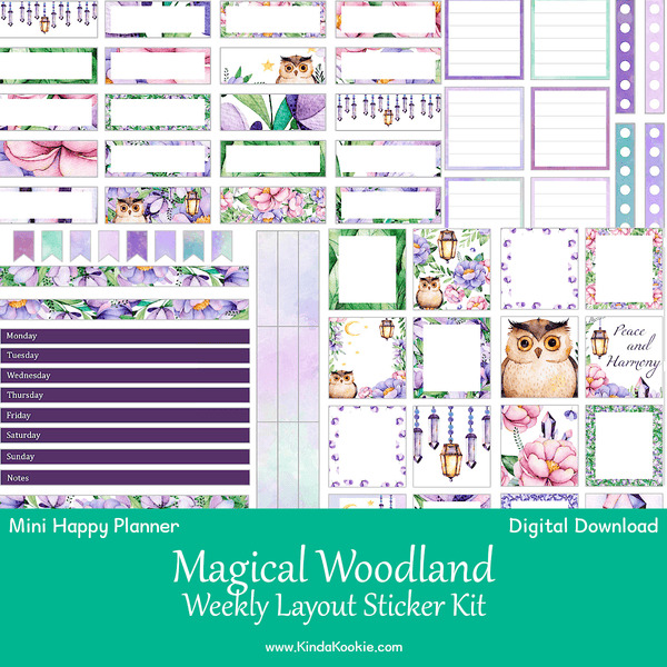 image relating to Printable Layout identified as Magical Woodland Mini Satisfied Planner Weekly Structure Printable Sticker Package