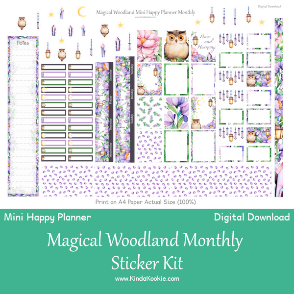 Magical Woodland Mini Happy Planner Digital Download Monthly Sticker Kit by KindaKookie