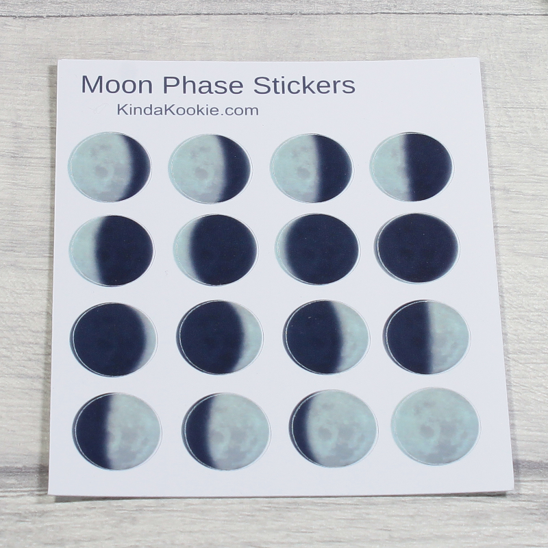 Small Moon Phase Planner Stickers for Pagan Planners by KindaKookie
