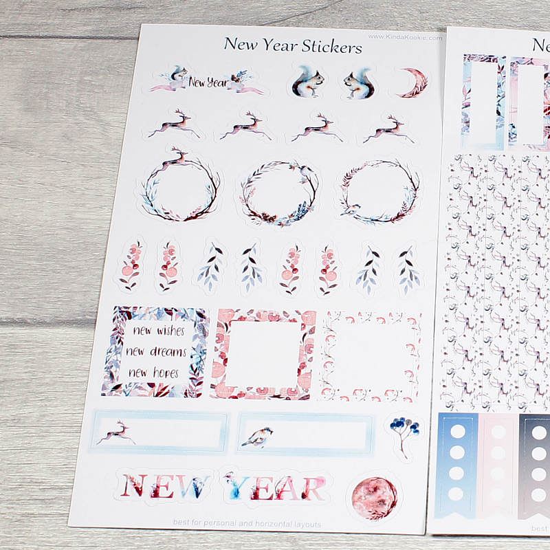 Frosty New Year Personal and Horizontal Planner Layout Stickers by KindaKookie