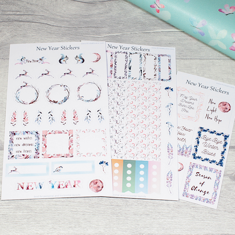 New year Stationery Journal Diary Planner Stickers