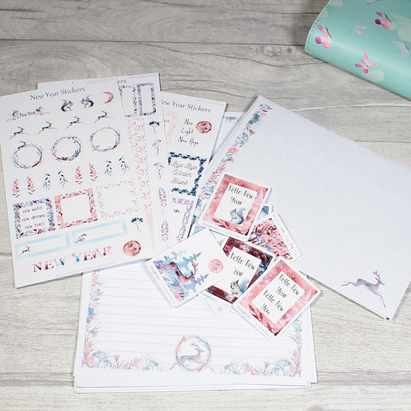 New Year Stationery Bundle with Stickers, Planner Stickers and Writing Paper by KindaKookie
