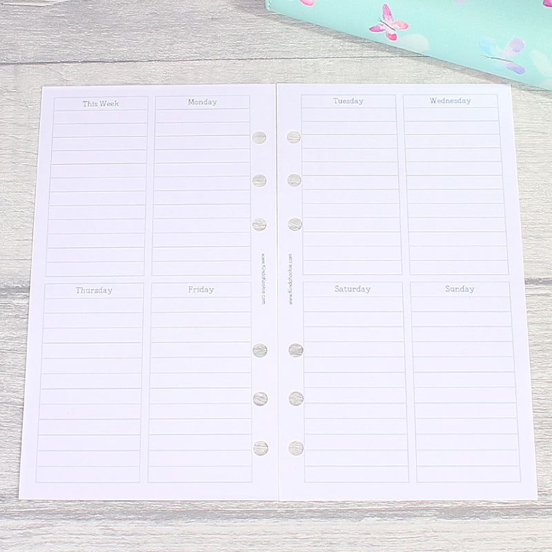Week on Two Pages Lined Vertical Personal Size Planner Inserts by KindaKookie