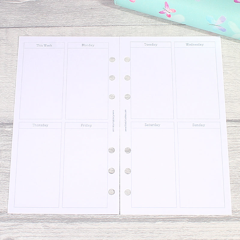 Week on Two Pages Plain Vertical Personal Size Planner Inserts by KindaKookie