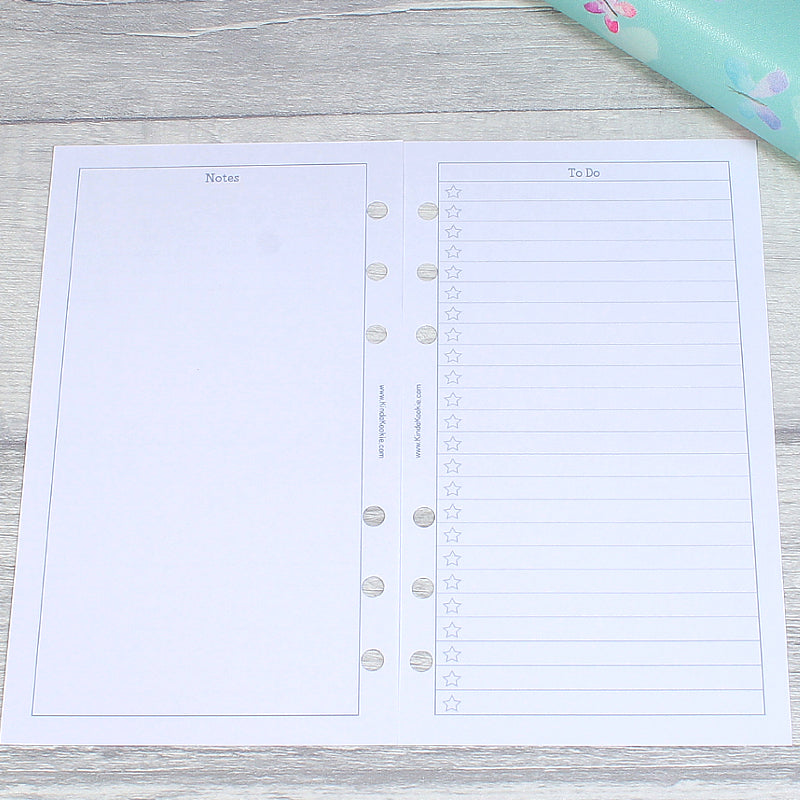 Notes and ToDo List Monthly Personal Planner Wo2P Horizontal Inserts by KindaKookie