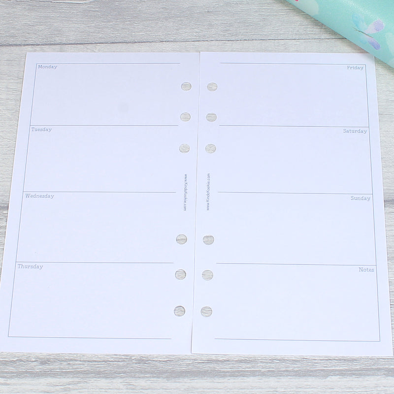 Week on Two Pages Plain Horizontal Personal Size Planner Inserts by KindaKookie