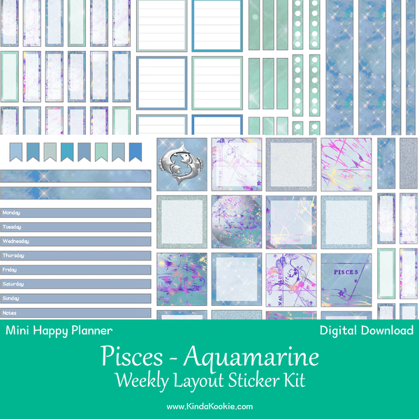 Pisces Aquamarine Mini Happy Planner Weekly Layout Printable Sticker Kit
