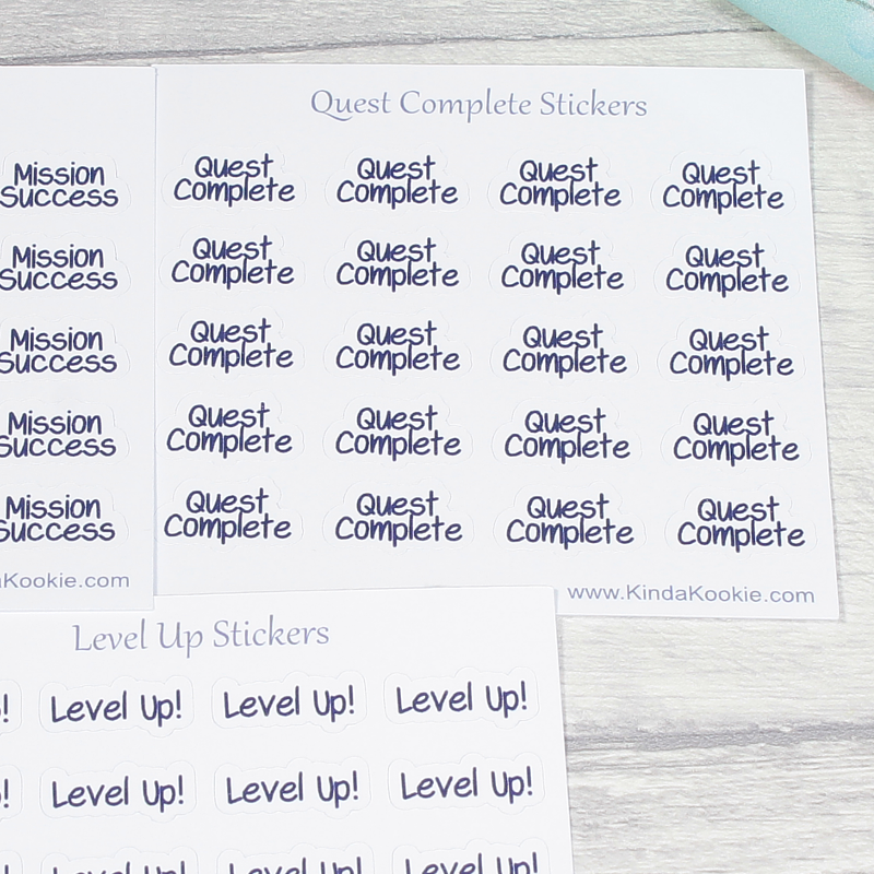 Quest Complete Journal and Planner Achievement To Do List Stickers by KindaKookie
