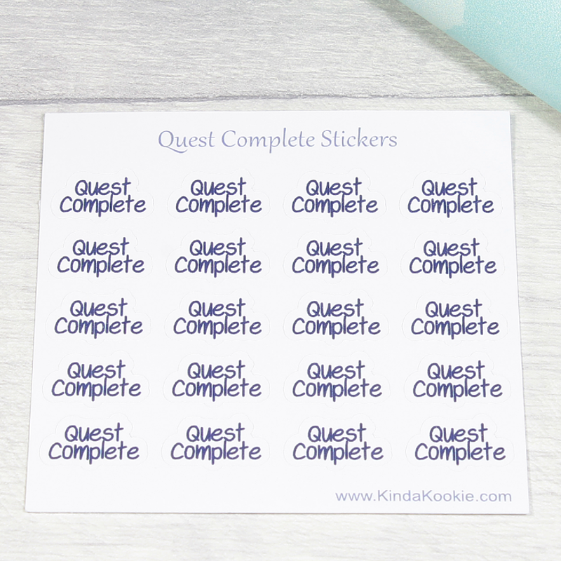 Quest Complete Stickers, Journal and Planner Stickers, Kids' Reward Stickers by KindaKookie