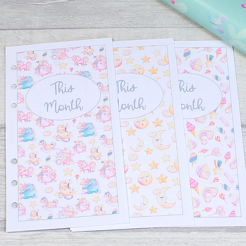 Sweet Unicorn Personal Planner Week on Two Pages Monthly Inserts by KindaKookie