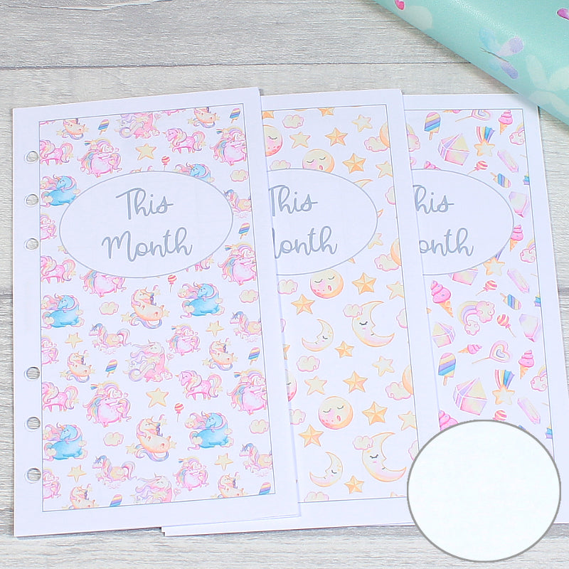 Candy Unicorn Personal Size Planner Plain Week on Two Pages Monthly Weekly Inserts by KindaKookie