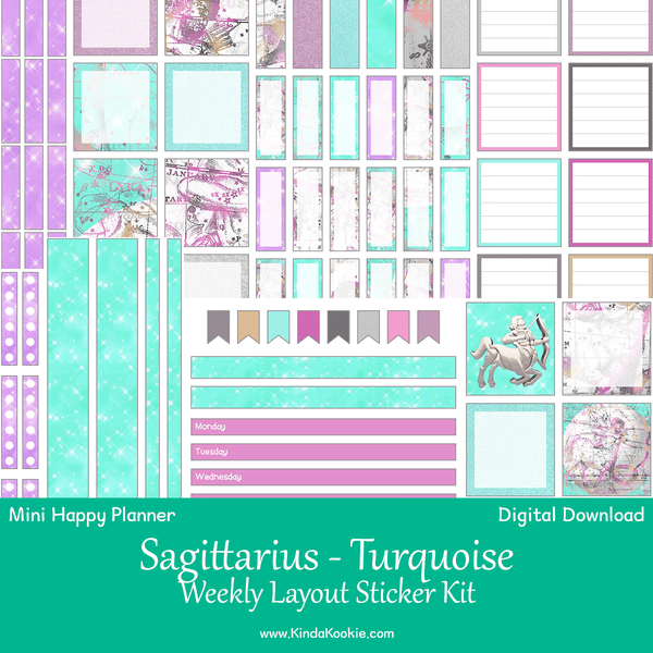 Sagittarius Turquoise Astrology Zodiac Mini Happy Planner Weekly Layout Printable Sticker Kit